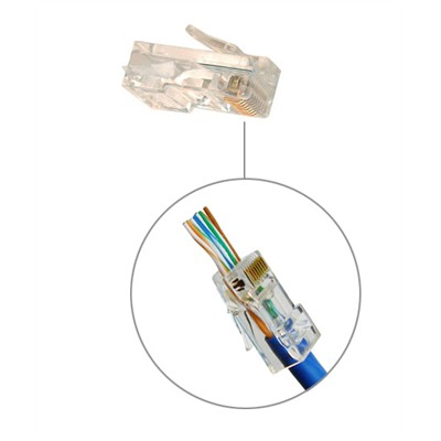 CAT5e - 8 Conductor RJ45 Pass-Through Plugs, 50u, Pkg/10