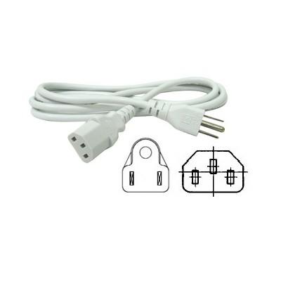 3 Conductor Power Cord - NEMA5-15P to IEC320-C13 socket, White, 6ft