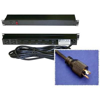 8 Outlet Power Bar (rear), 15ft cord, Twist-Lock Plug