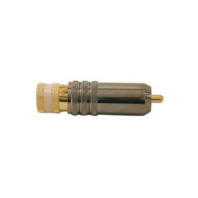 RCA Plug - Polished Metal, Locking, 8mm, White