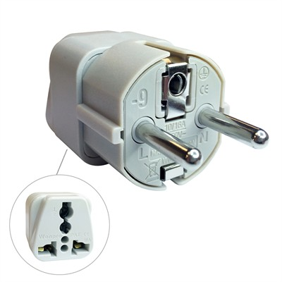3 Conductor Plug - 3 Pin European Plug, Travel Adapter