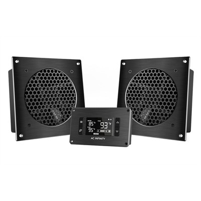 """AV Cabinet Cooling Fan System with LCD Thermal controller, Dual fans, 6"""""""