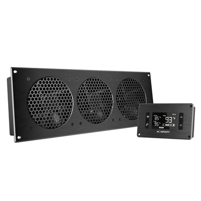 """AV Cabinet Cooling Fan System with LCD Thermal controller, 3 fans, 18"""""""