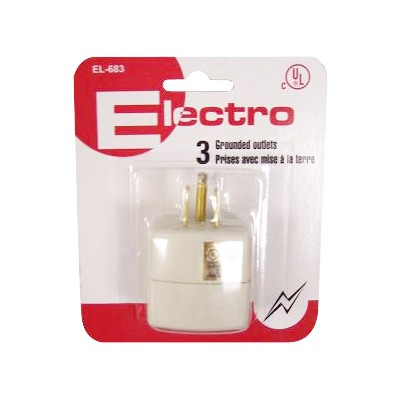3 Outlet Tap - 3 Wire, White