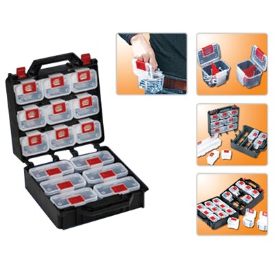 Parts Box - 15 Sections w/ Belt Clips and Carrying Caddy