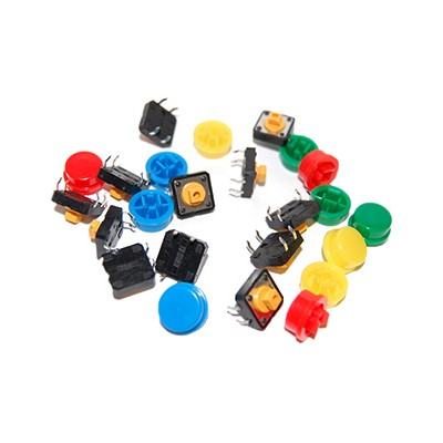 Tactile Push Button with Cap - Assorted Colours, Pkg/12