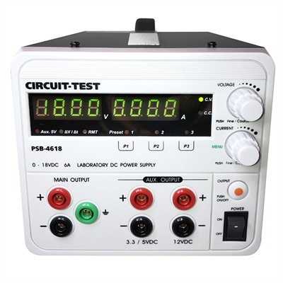 Triple Output - Linear (18VDC/6A, Fixed 3.3 or 5VDC @0.8A & 12VDC @0.8A), Remote Programmable