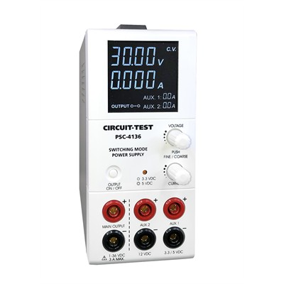 Triple Output - Switching (36VDC/3A, Fixed 3.3 or 5VDC@1.8A & 12VDC@0.8A), Remote Programmable