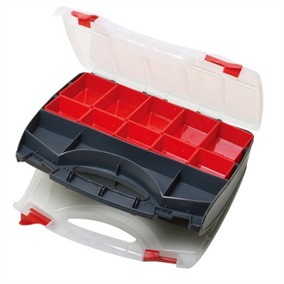 Parts Box - Double Sided w/ Removable Trays + Dividers, 345 x 279 x 81mm