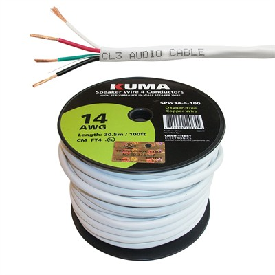High Performance Speaker Wire, In-Wall, 14AWG, 4 Conductor, 100ft Roll