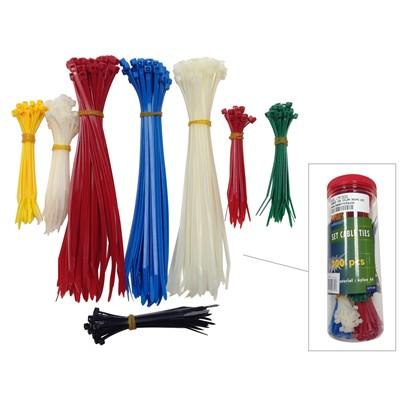 """Cable Tie Kit - 4"""" / 8"""", Multicolour, Pkg/300"""